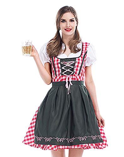 Charming House German Oktoberfest Costume Beer Girl Drindl Dress Halloween Cosplay Costume (Green/Red,Medium)