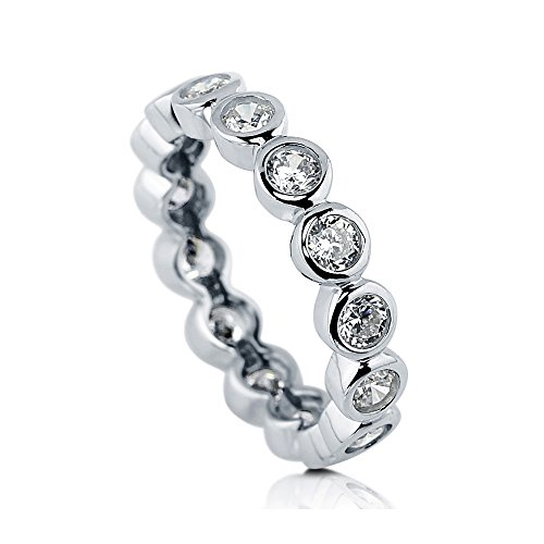 BERRICLE Rhodium Plated Sterling Silver Cubic Zirconia CZ Bubble Anniversary Wedding Eternity Band Ring Size 5