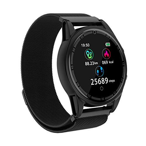 Fitness Activity Tracker with HD Colorful Touch Screen,Health Tracker with Heart Rate/Blood Pressure/Sleep Monitor,Sport Watch IP67 Waterproof Smart Band Counter Pedometer for Men Women (Black-2)