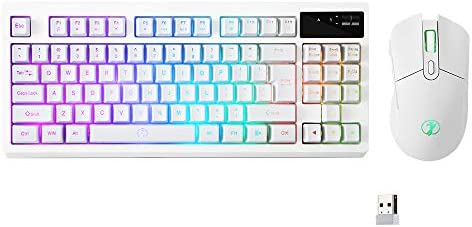 ZJFKSDYX C87 Wireless RGB Keyboard and Mouse Combo, 2.4G Wireless Connection, Support 10 Kinds of RGB Lighting Effects, Mute Button Supports Charging (White