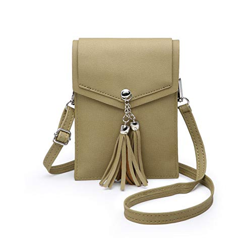 seOSTO Women Small Crossbody Bag, Tassel Cell Phone Purse Wallet With Credit Card Slots ()