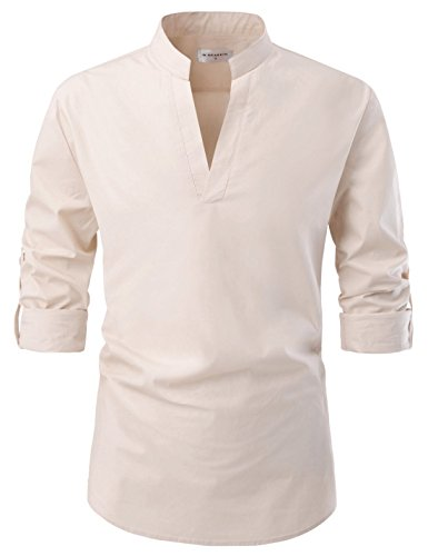 NEARKIN NKNKN382 Mens Classic Fit Roll-up Sleeve Mandarin Collar V Neck Casual Shirts Beige US XL(Tag Size XL)