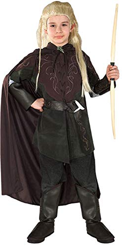 Boy's Lord of The Rings Legolas Greenleaf Warrior Fancy Dress Child Costume, Child L (12-14) Black ()