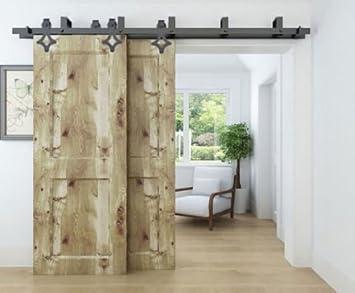 Kirin 12 ft americano antiguo para puerta corredera de granero madera juego de Hardware forma de rombos: Amazon.es: Bricolaje y herramientas
