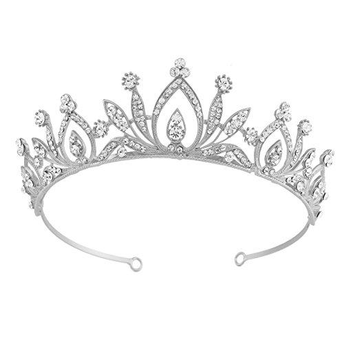Santfe Bridal Wedding Prom Rhinestone Crystal Crown Hairband Headband Tiara Hair Jewelry for Womens Girls (Silver)