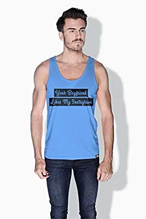 Creo Your Boyfriend Likes My Instagram Funny Tanks Tops For Men - L, Blue