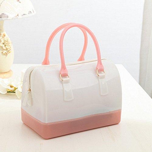 Handtasche Kieselgel Henkeltasche 26cm(W) 18cm(H) 8cm(B) White&pink
