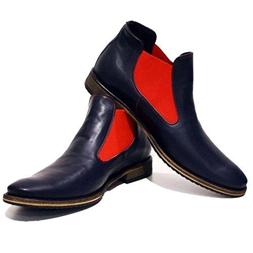 PeppeShoes Modello Bra - Handgemachtes Italienisch Leder Herren Navy Blau Stiefeletten Chelsea Stiefel - Rindsleder Weiches Leder - Schlüpfen