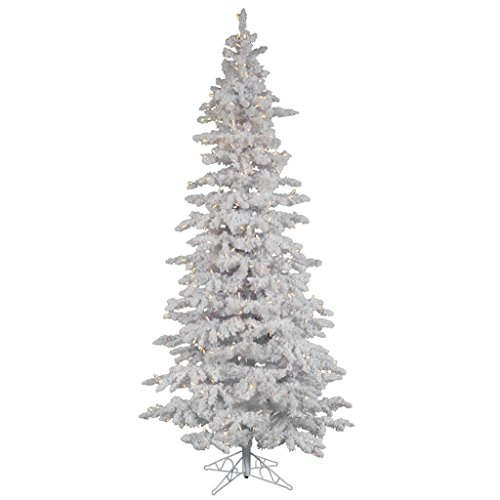Vickerman 10' Flocked White Slim Artificial Christmas Tree with 650 Warm White LED Lights