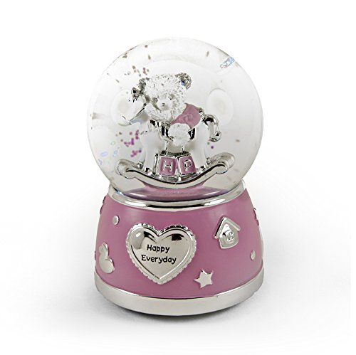 MusicBoxAttic Adorable Pink and Silver Teddy Bear On Rocking Horse Animated Snow Dome - Lullaby, Brahms - Swiss