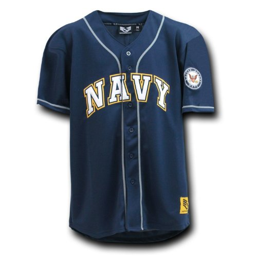 Rapid Dominance Fully Button Down Military US NAVY Logo Baseball Jersey - Navy Blue - XX-Large - ()