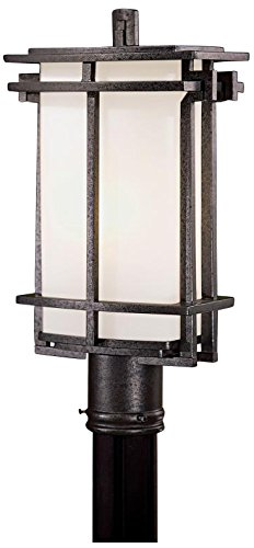 Minka Lavery 72016-A173-PL Lugarno Square 1 Light Outdoor Post Mount, Forged Silver Finish