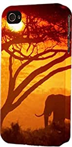 Elephant In Sunset With Tree Dimensional Case Fits Case For Iphone 5/5S Cover