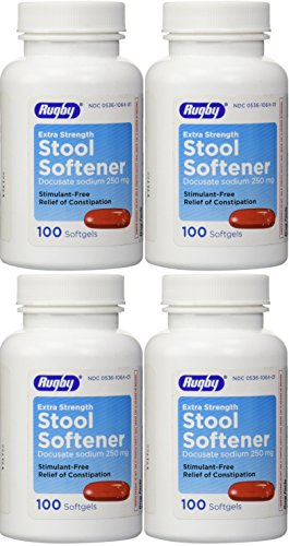 Docusate Sodium Extra Strenght 250 mg 400 Softgels for Gentle, Reliable Relief from Occasional Constipation 100 Softgels per Bottle Pack of 4 Bottles