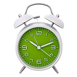 Konigswerk 4 Non-ticking Quartz Analog Retro Vintage Bedside Twin Bell Alarm Clock With Loud Alarm and Nightlight AC048G (Green)