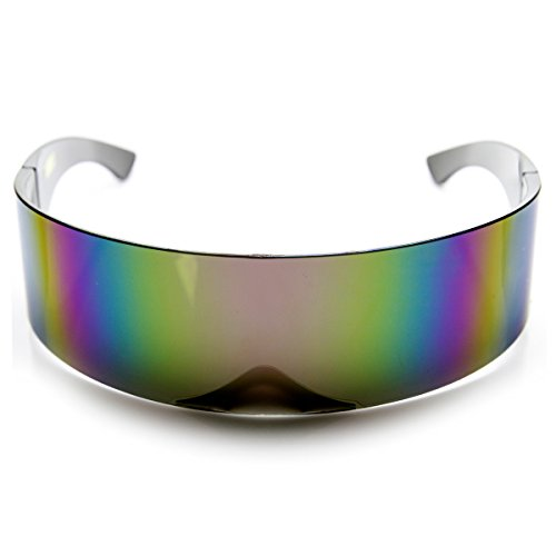 zeroUV - 80s Futuristic Cyclops Cyberpunk Visor Sunglasses with Semi Translucent Mirrored Lens (Pink Rainbow) -