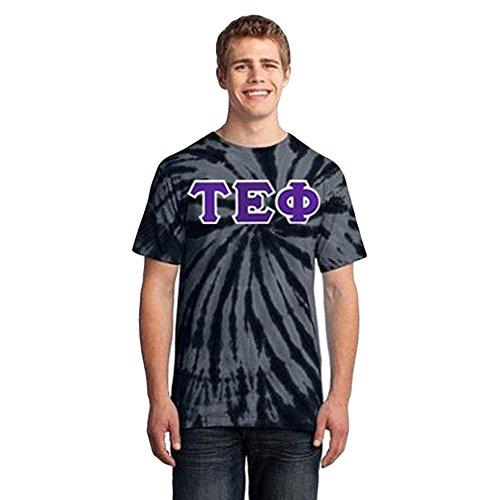 (Greekgear Tau Epsilon Phi Essential Tie-Dye Lettered Tee Medium Black)