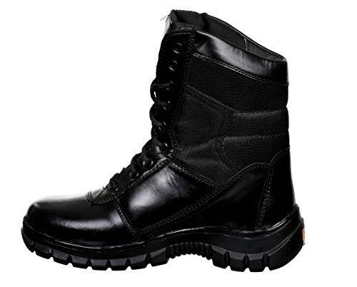 SSG Men's 9 Eye Black Leather High Cut Combat Military and Tactical Waterproof Boot