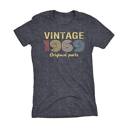 50th Birthday Gift Womens T-Shirt - Retro Birthday - Vintage 1969-001-Dk. Heather-Md (50 Birthday Gifts For Women)