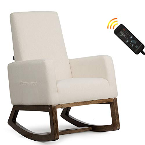 Giantex Rocking Chair Upholstered Living Room Chair with Back Massage Function, Padded Seat, Wood Base, Rocking Chair for Nursery (Beige)