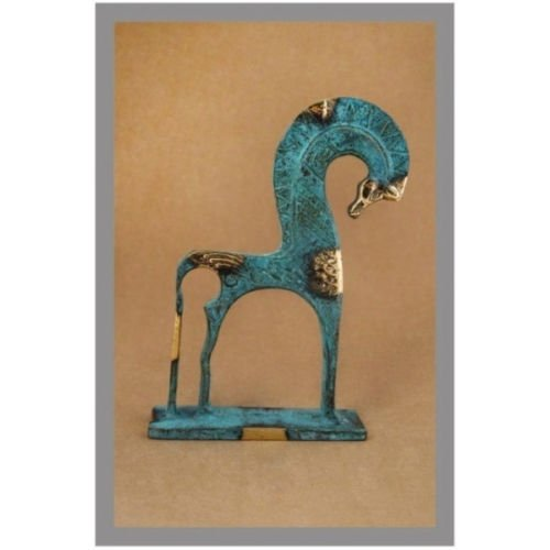 Ancient Greek Bronze Museum Statue Replica of Horse From Geometric Era (124)