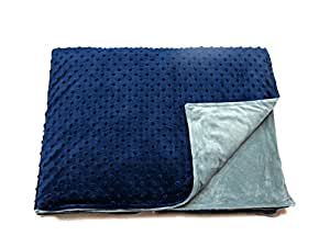 """5 lb Children's (for 50lb individual) 36""""x48"""" Navy Blue and Gray Weighted Blanket with Dotted Minkey Cover. Fall Asleep Faster Perfect for kids with Anxiety OCD Stress ADHD Autism"""