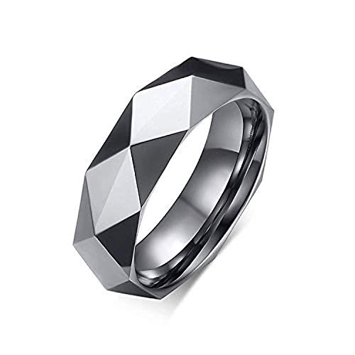 Milo Bruno - 6MM Faceted Diamond Cut Tungsten Wedding Band Ring (Silver) - 12