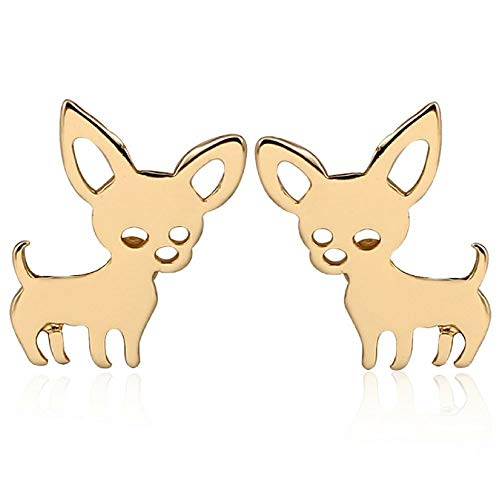 Chihuahua Gifts: Dog Earrings Set Packaged in Gift Pouch - Cute Earrings for Girls (Gold)