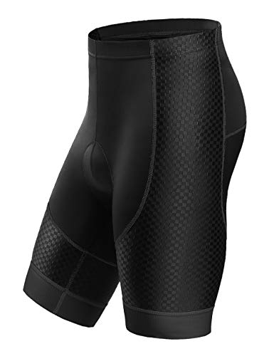Letook Breathable Gel Padded Bike Shorts Men Comfortable Professional Road Cycling Bicycle Riding Shorts with Padding 100006 Black M