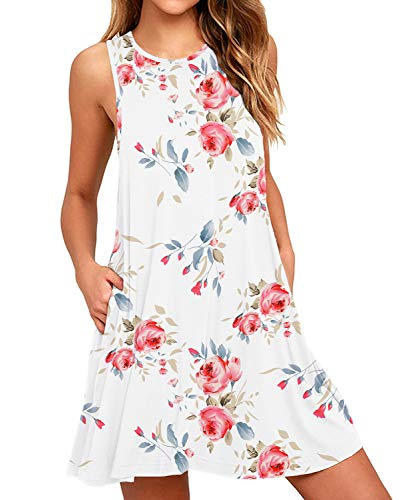 HiMONE Women's Floral Print Sleeveless Pocket Casual Loose T-Shirt Dress Floral White Small