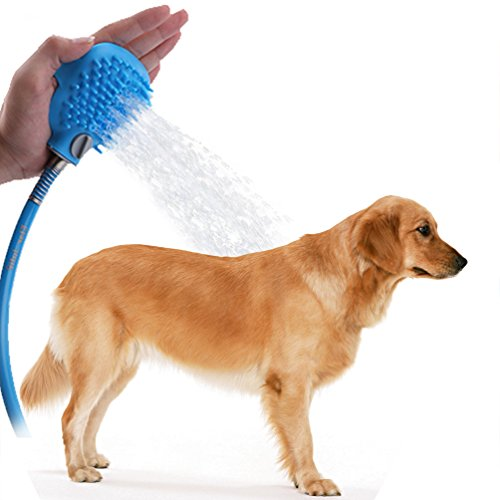 Dog Shower Sprayer with Brush/Pet Bathing Sprayer Scrubber Shower Massage and Grooming Tool Supply/Pet Bathing Tool for Dog Combines Bathe, Shampoo, Massage with 7.5 Foot Hose and 2 Hose Adapters