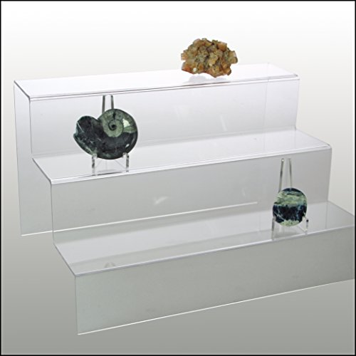 Clear Acrylic Glass Riser Step Display - 3 Steps for Rocks, Minerals, Stones , Opals & (Tier Easel)
