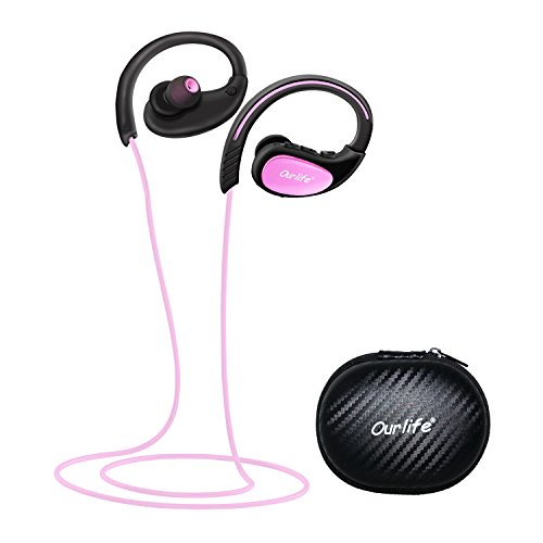 Bluetooth Headphones, Ourlife Wireless Headphones Sport w/ Mic IPX5 Waterproof HD Stereo Sweatproof Earbuds for Gym Running Workout 8 Hour Battery Bluetooth V4.1 (Pink)