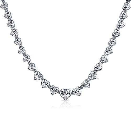 Bling Jewelry Bridal Cubic Zirconia Statement Heart Shaped AAA CZ Tennis Necklace for Women for Wedding for Prom Silver Plated Brass