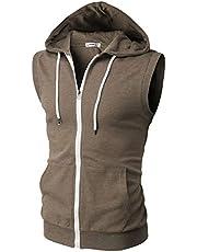 H2H Mens Casual Lightweight Sleeveless Zip-up Vest Tank Hoodies