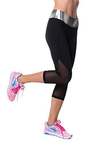 Guely Ray Women Running Colorblock Compression Capri Crop Leggings with Calves Mesh 20'' Inseam