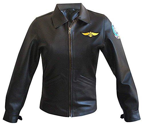 Womens Top Aviator Charlie Charlotte Blackwood Kelly McGillis Black Leather Jacket