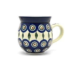 Polish Pottery Mug – 11 Oz. Bubble – Peacock