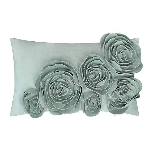 JWH 3D Handmade Accent Pillow Cases Rose Flowers Cushion Covers Velvet Decorative Pillowcases Home Sofa Car Bed Living Room Office Chair Decor Pillowslips Rectangular Gifts 12 x 20 Inch Light Blue