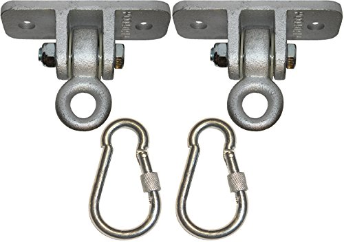 Jungle Gym Kingdom 2 Heavy Duty Swing Hangers for Wooden Sets Playground Porch Indoor Outdoor Seat Trapeze Yoga & Hanging Steel Locking Snap Hooks | 1260 lb Capacity | Ebook Install Guide (Outside Hanger Swing)