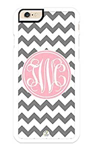 iZERCASE iPhone 6 Case Monogram Personalized Grey and White Chevron Pattern with Cursive Initials RUBBER CASE - Fits iPhone 6 T-Mobile, AT&T, Sprint, Verizon and International (White)
