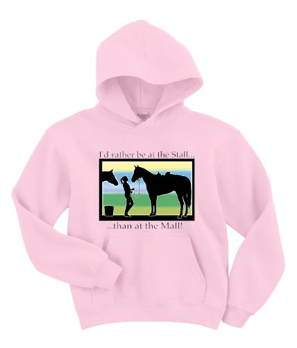 Cotton Blend Sweatshirt Hoodie - Rather Be at Stall than The Mall - Pink - - Outlet Sunrise Mall