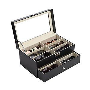 CO-Z Leather Box Eyeglasses Eyewear Organizer Display Storage Case – 12 Compartments (12 Compartments)