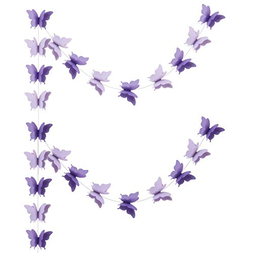 Zilue Butterfly Banner Decorative Paper Garland Wedding, Baby Shower, Birthday & Theme Decor 110 Inches Long Set of 2 Pieces Lightpurple -