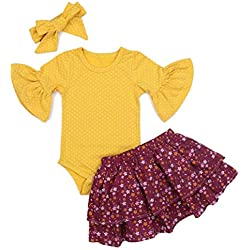 Newborn Baby Girl Clothes Flare Sleeve Romper + Floral Short Pants 2pcs Summer Outfit Set 0-18Months