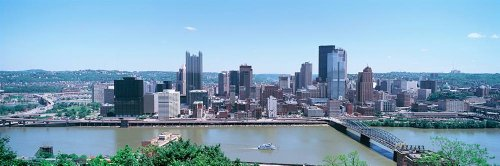 Walls 360 Peel & Stick City Skyline Wall Murals: Buildings at the Waterfront Pittsburgh (84 in x 28 - Waterfront Pittsburgh Pa