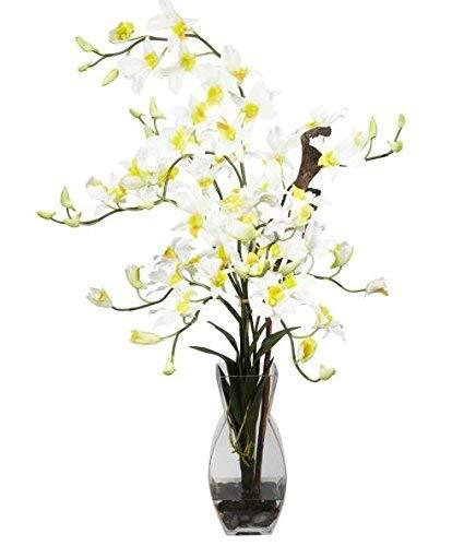 SKB Family Dendrobium w/Vase Silk Flower Arrangement Floral Orchids Colorful Flowers Accent ()