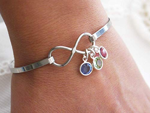 (Infinity Bangle - Birthstone Bracelet - 1 2 3 Birthstones - Mothers Bracelet - Grandma Bracelet - Infinity Bracelet - Personalized - Love Gifts - Gifts for Mom - Gifts)