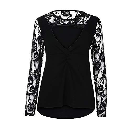 donna lunghe in Aimee7 pizzo nero T a Sexy maniche V scollo shirt a con maniche a lunghe da 80Txtqr0