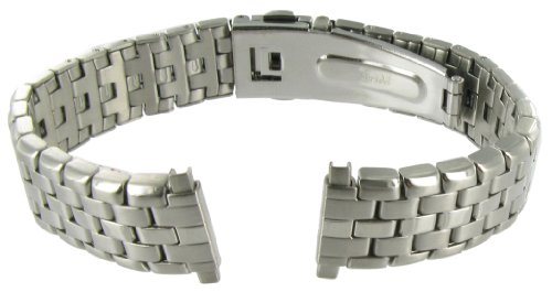 12-16mm Hirsch Silver Tone Adjustable Semi-Solid Link Deployment Buckle Watch Band 2002WR - Silver Tone Buckle